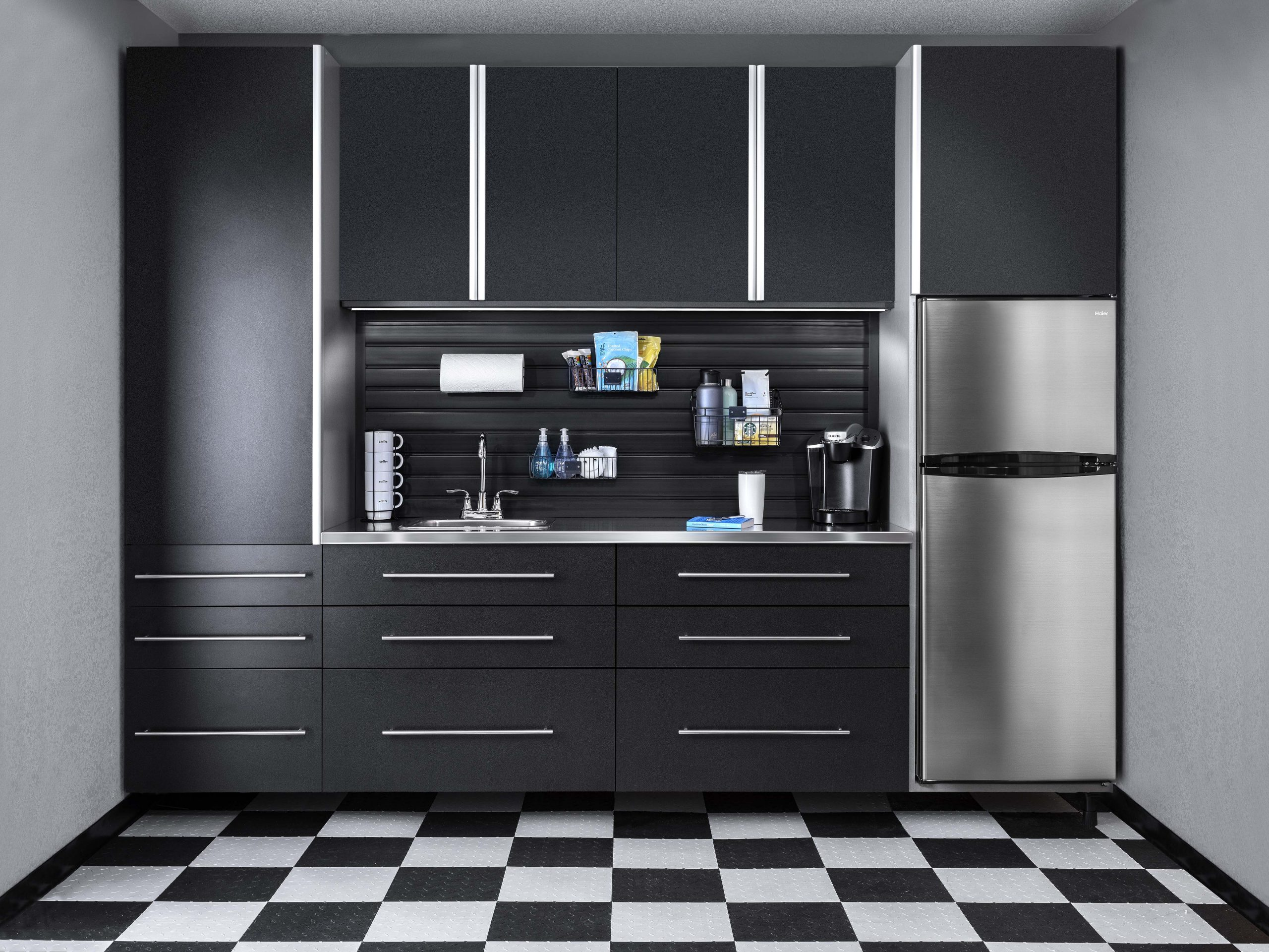 Basalt Cabinets with Stainless Countertop and Swisstrax